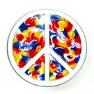 Psychedelic Colors Peace Love Symbol Sign Pewter American buckle