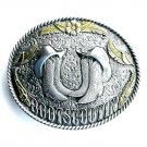 Western Boot Scootin Silver color Bergamot pewter belt buckle