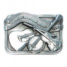 Country Western Music Bergamot 3D Pewter American Belt Buckle
