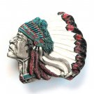 Big Chief Color 3D Bergamot USA Pewter American belt buckle