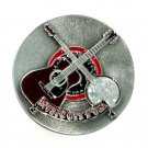 Country Western Music City USA Color 3D Pewter American Belt Buckle
