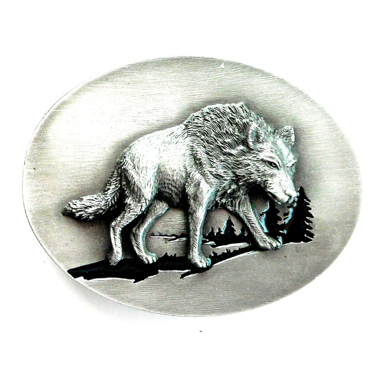 Wolf Male 3D Pewter Siskiyou Belt Buckle