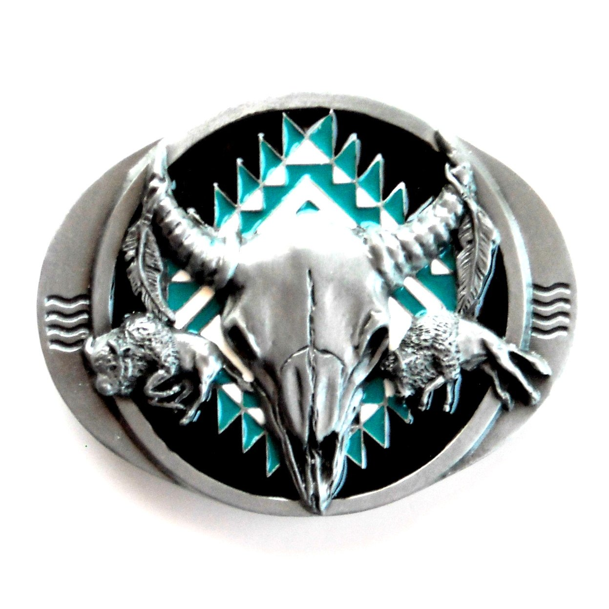 Native Buffalo Skull Turquoise Black 3D Siskiyou Pewter Belt Buckle