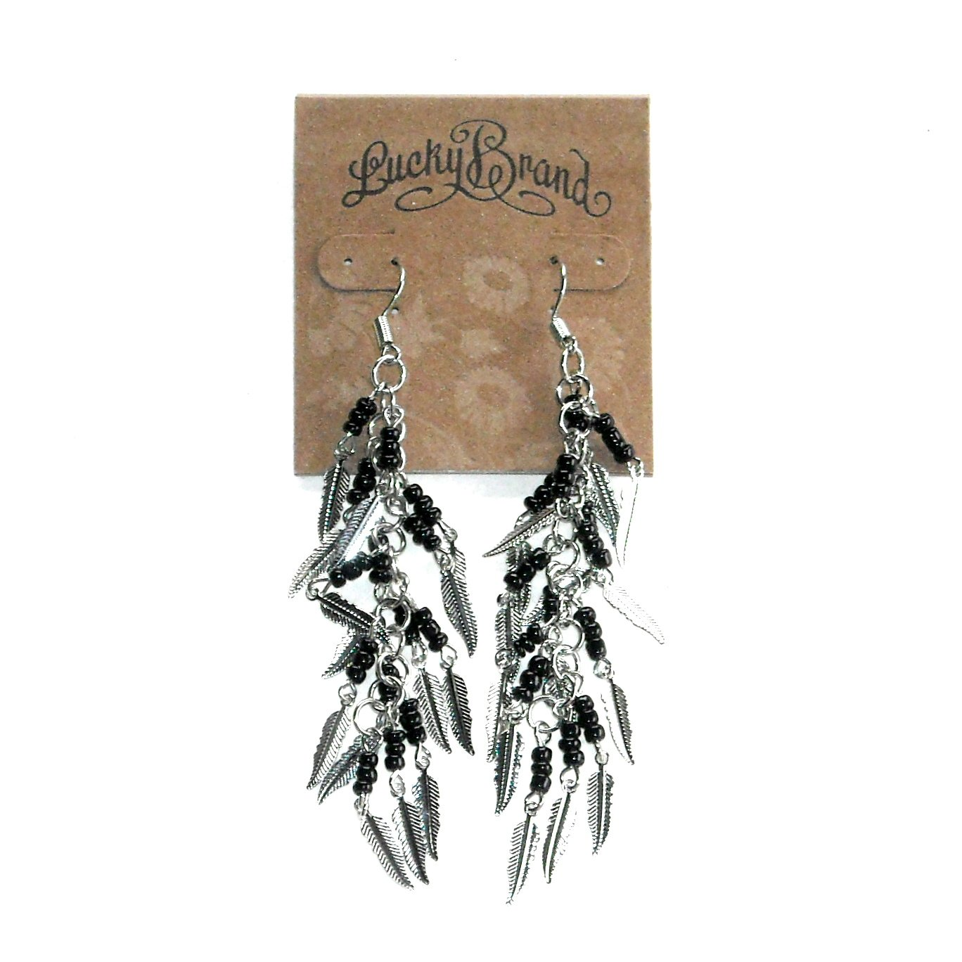 Small Feathers Silver Color Lucky Brand Dangle Earrings