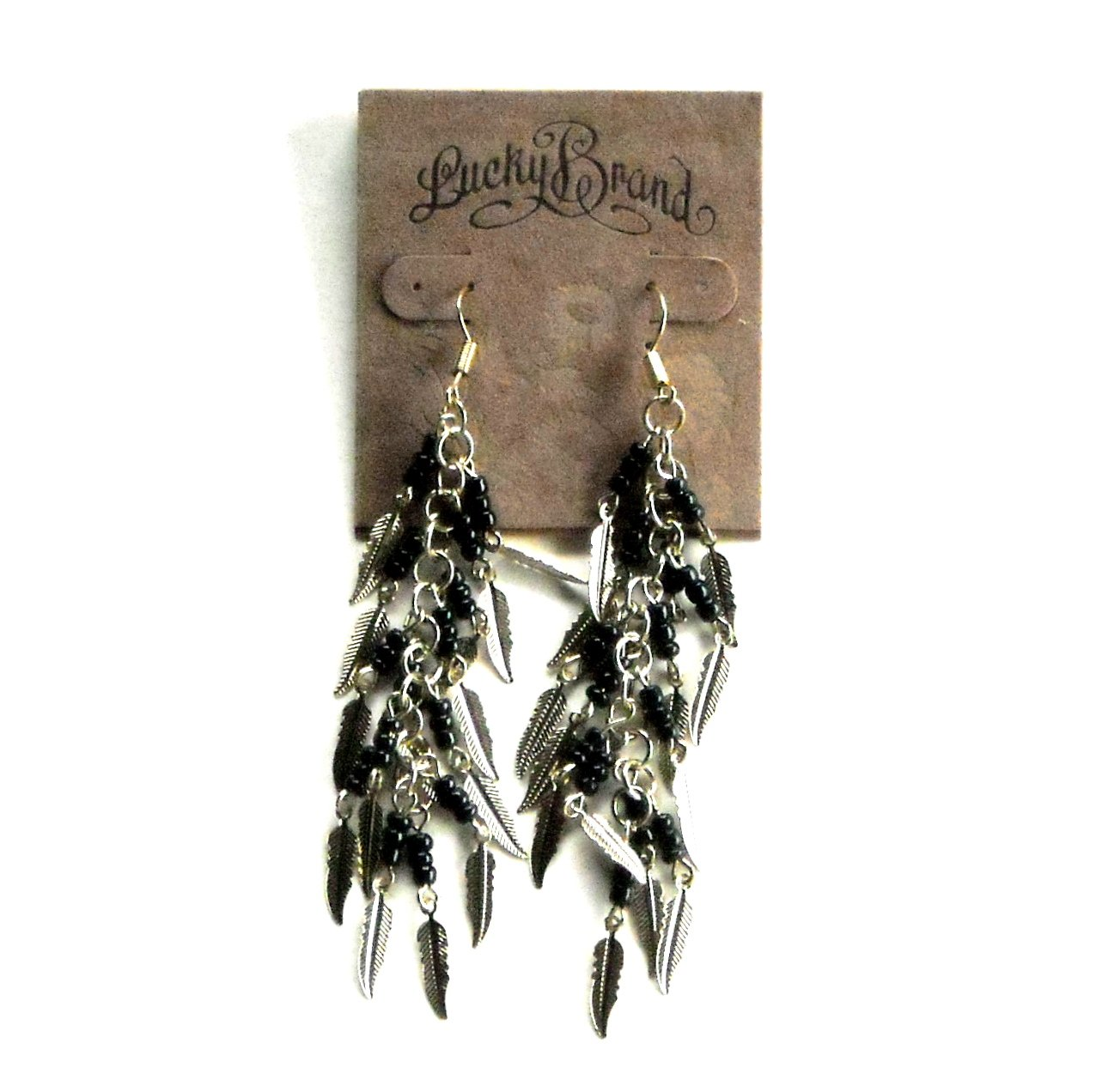 Small Feathers Gold Color Lucky Brand Dangle Earrings