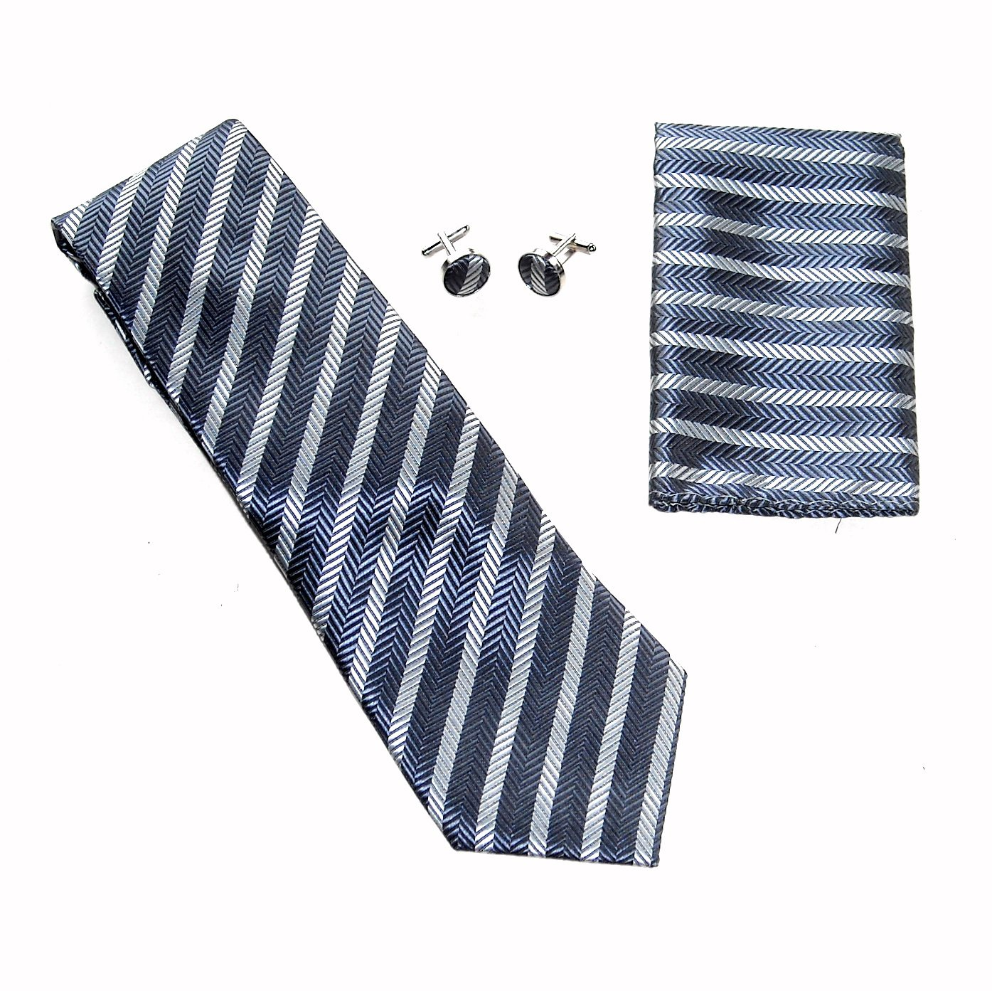 Black Silver Herringbone Stripe Necktie Matching Handkerchief Cufflinks Boxed Gift Set