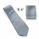 Navy Blue White Striped Necktie Matching Handkerchief Cufflinks Boxed Gift Set