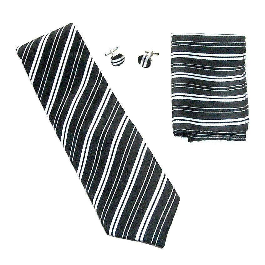 Black White Striped Necktie Matching Handkerchief Cufflinks Boxed Gift Set