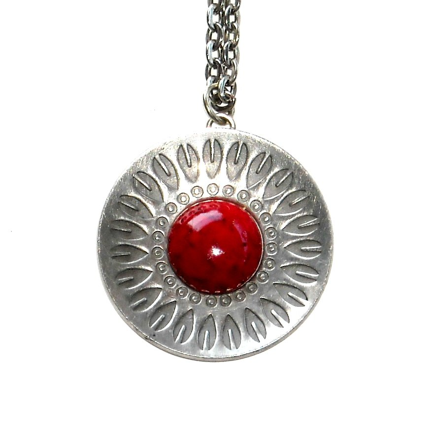 Jorgen Jensen Red Flower Denmark Vintage Pewter Necklace