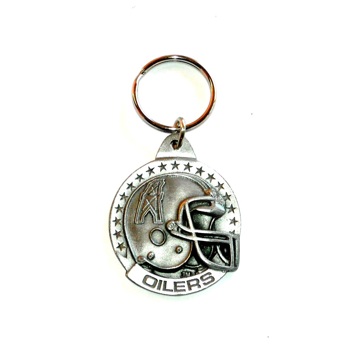 Oilers Team NFL Retired Pewter Fob Key Ring Keychain