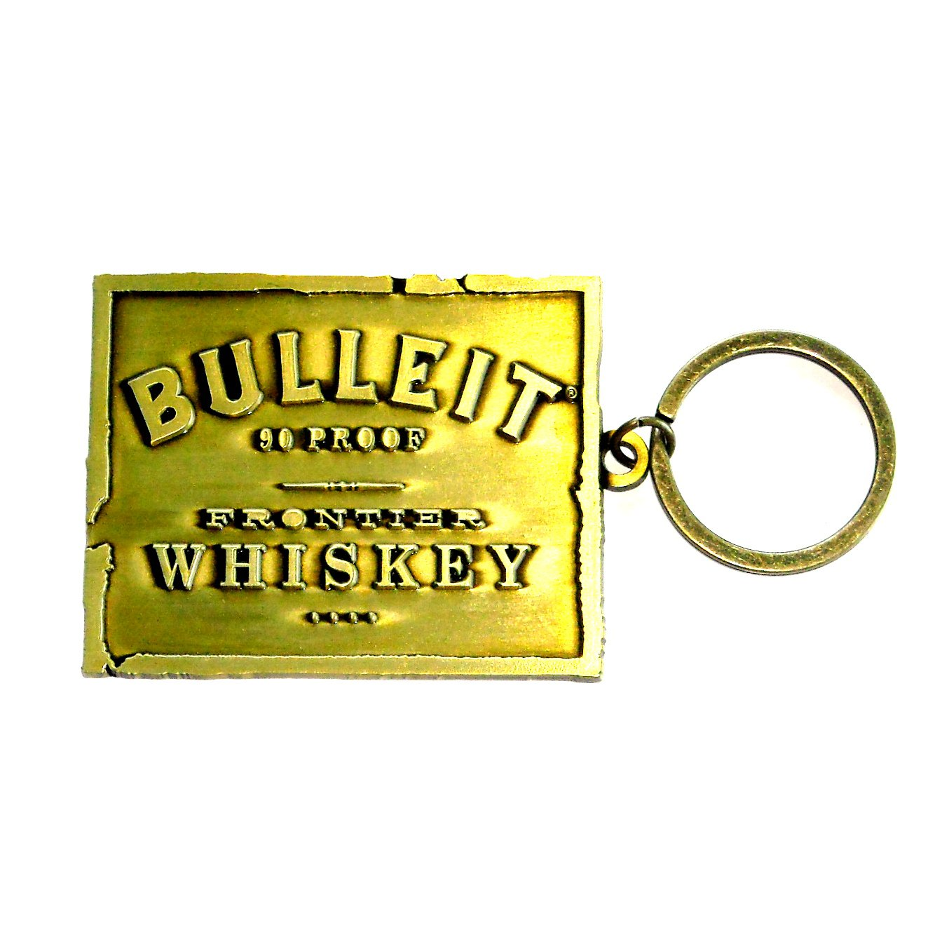 Bulleit Frontier Whiskey Solid Brass Fob Key Ring Keychain