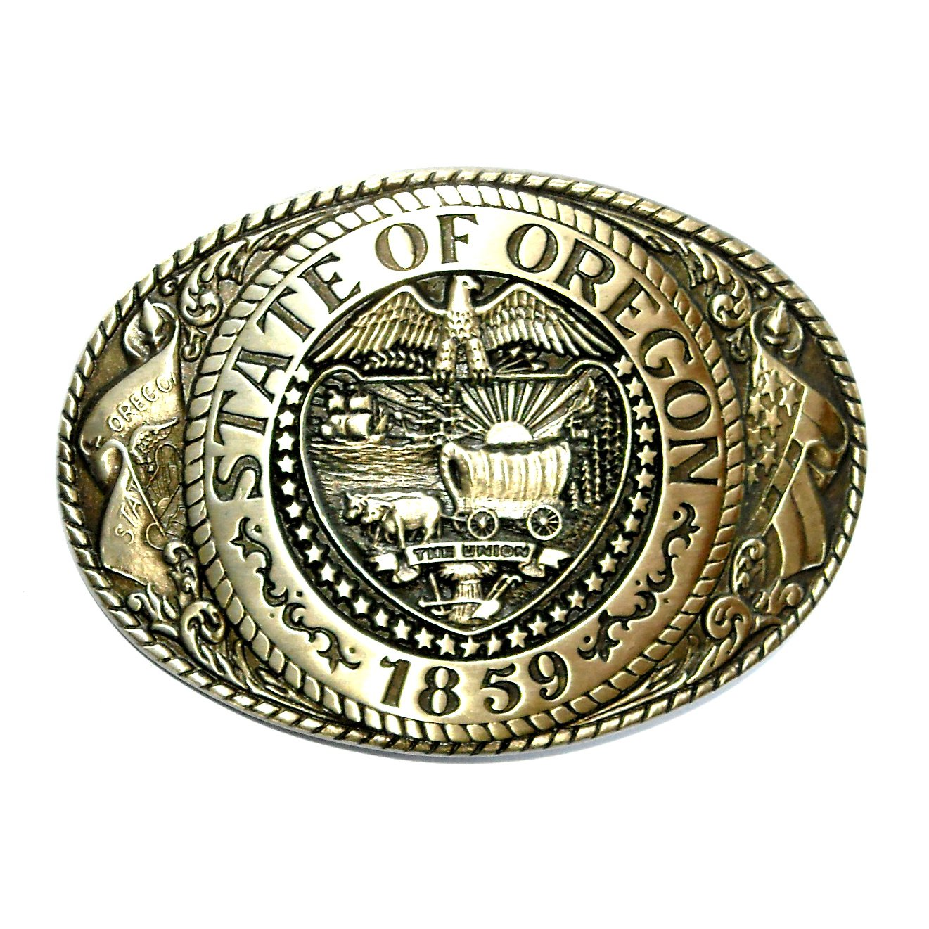 Tony Lama Vintage Great Seal The State Of Oregon Brass Belt Buckle