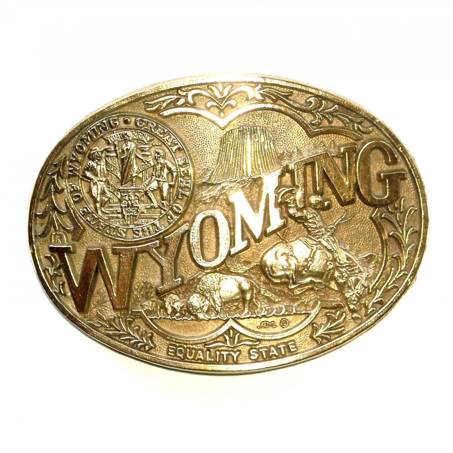 Wyoming Equality State Seal ADM Solid Brass Belt Buckle