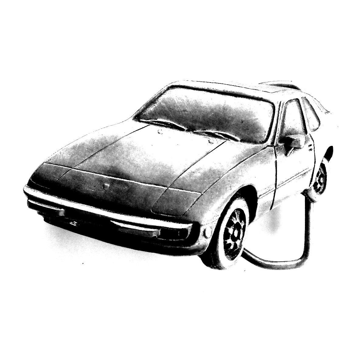 Porsche 924 Car Auto Indiana Metal Pewter Belt Buckle