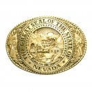Tony Lama Great Seal Of The State Of Nevada Solid Brass Belt Buckle