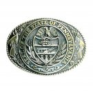 Great Seal Pennsylvania State Tony Lama Brass Belt Buckle