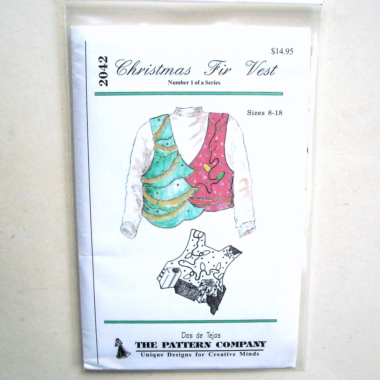Misses Christmas Fir Vest Dos De Tejas Sewing Pattern 2042