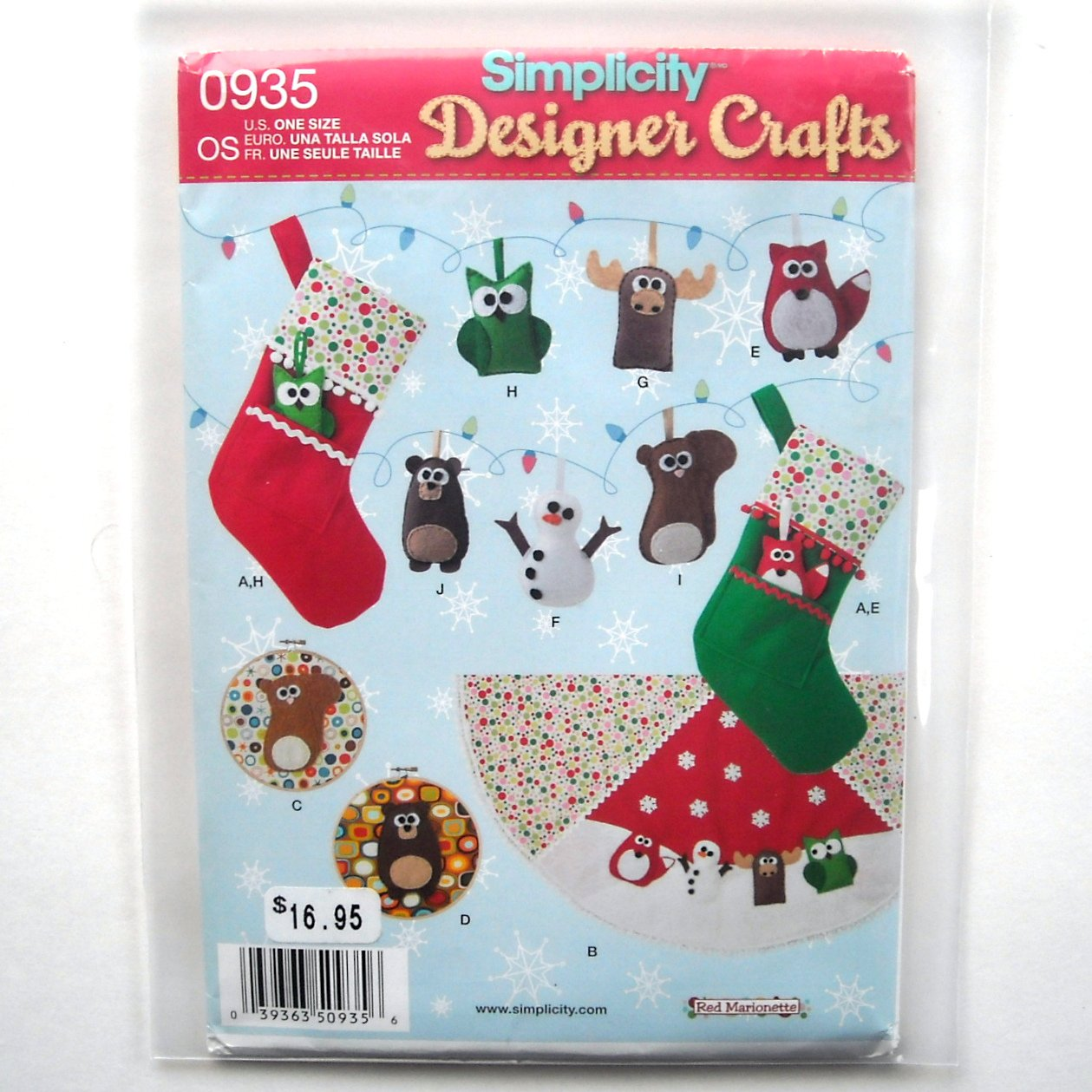 Felt Ornaments Stocking Tree Skirt Wall Hangings Simplicity Sewing Pattern 0935