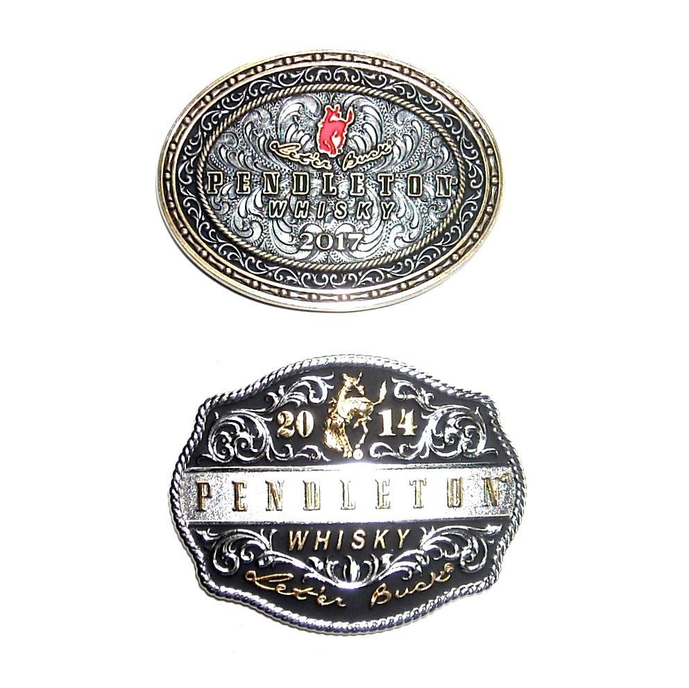 Pendleton Cowboy Rodeo Whisky 2017 2014 Montana Silversmiths Belt Buckles