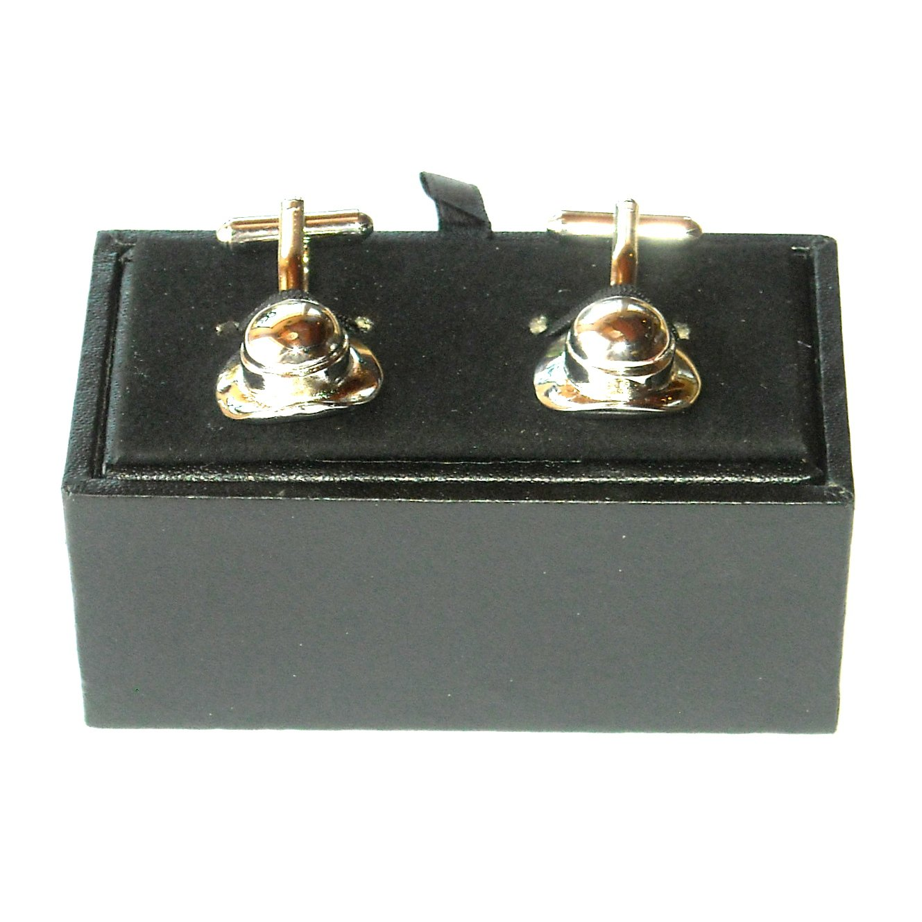 English Bowler Hat Boxed Silver Color Cufflinks