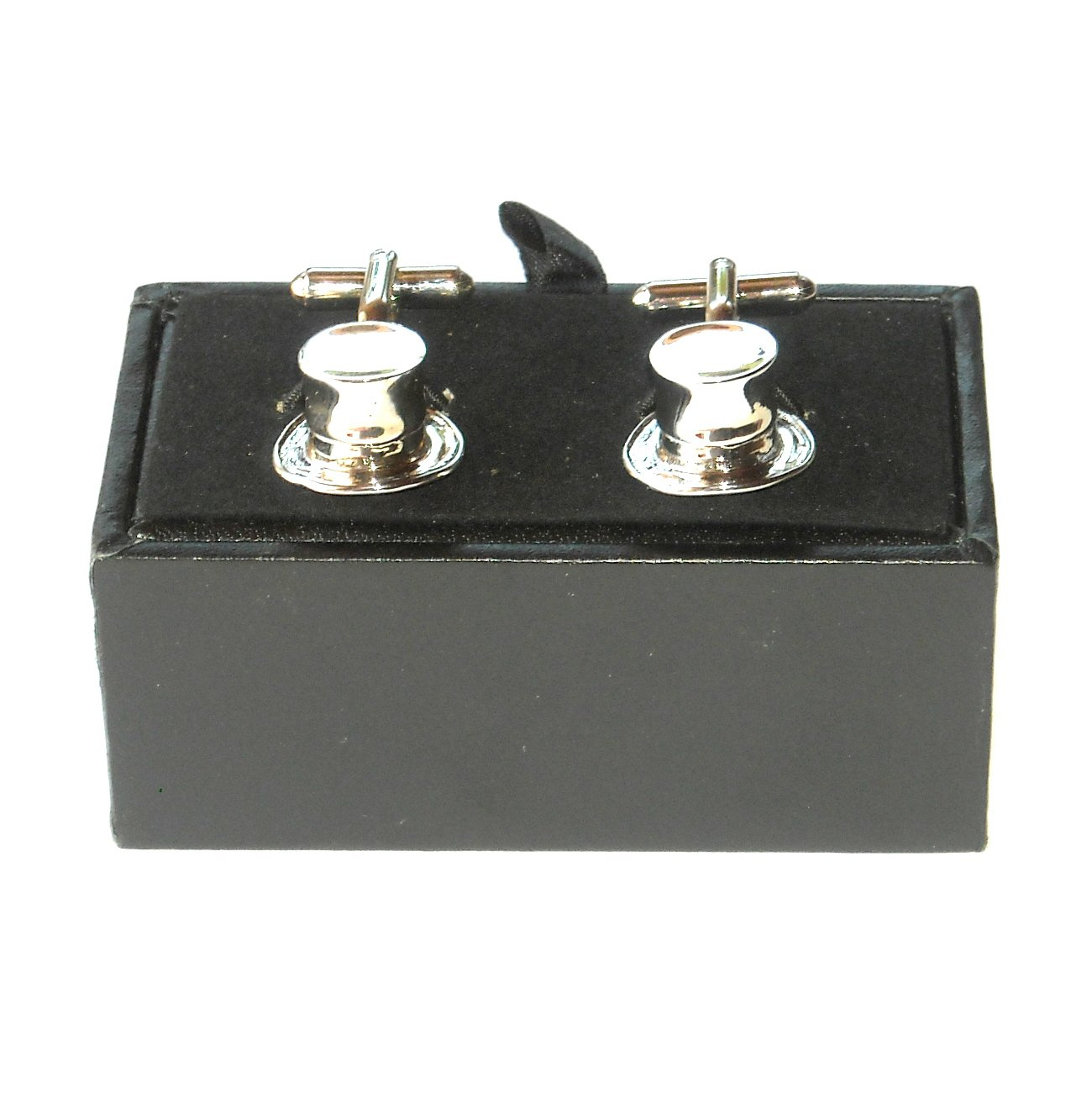 Gentlemens High Hat Boxed Silver Color 3D Cufflinks