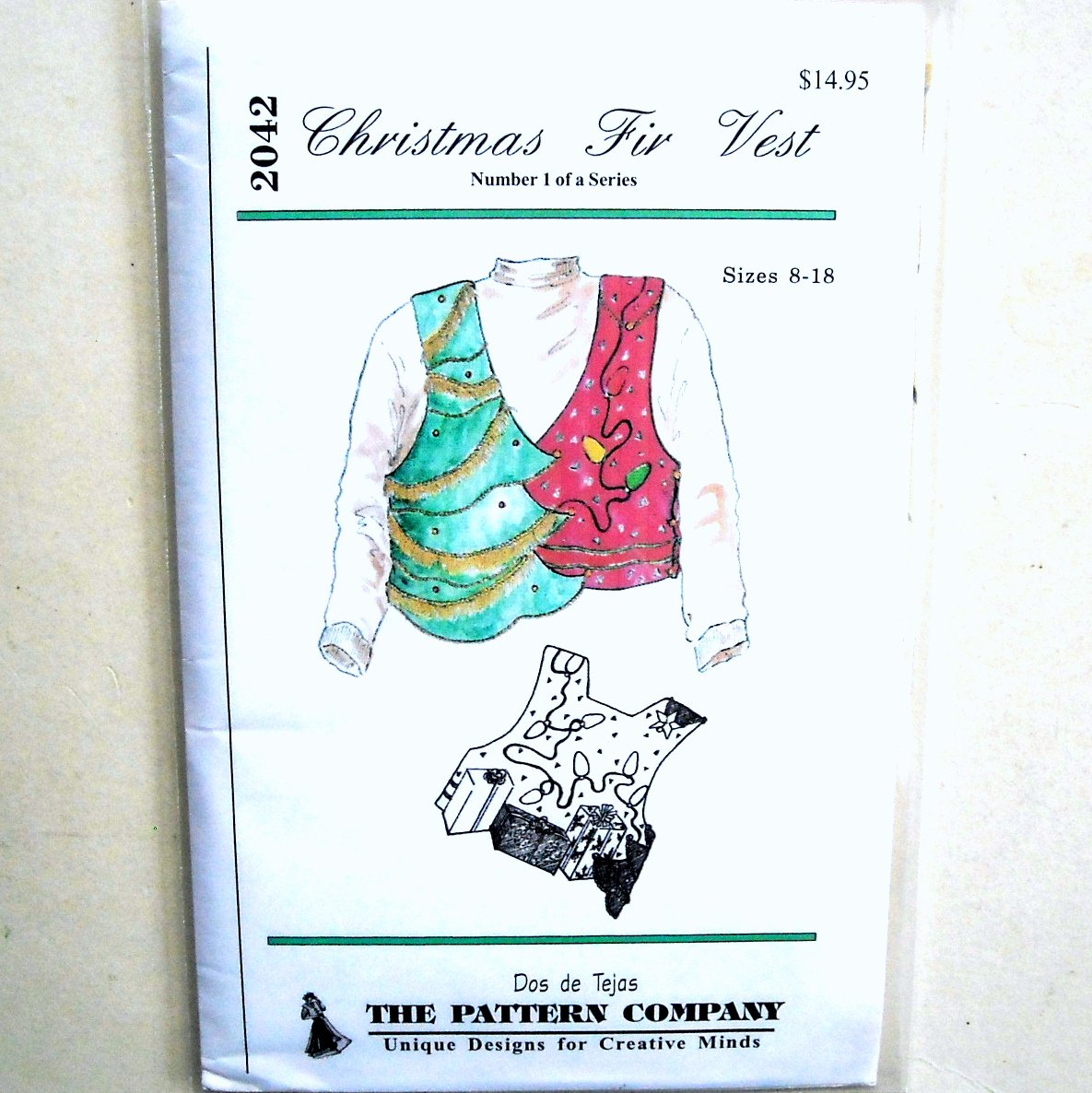 Christmas Fir Vest Dos De Tejas Sewing Pattern 2042
