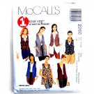 Misses Unlined Vests Two Lengths Plus Size McCalls Sewing Pattern 2260