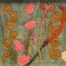 Golden Flowers Needle Felted Original Hand Crafted Fiber Art