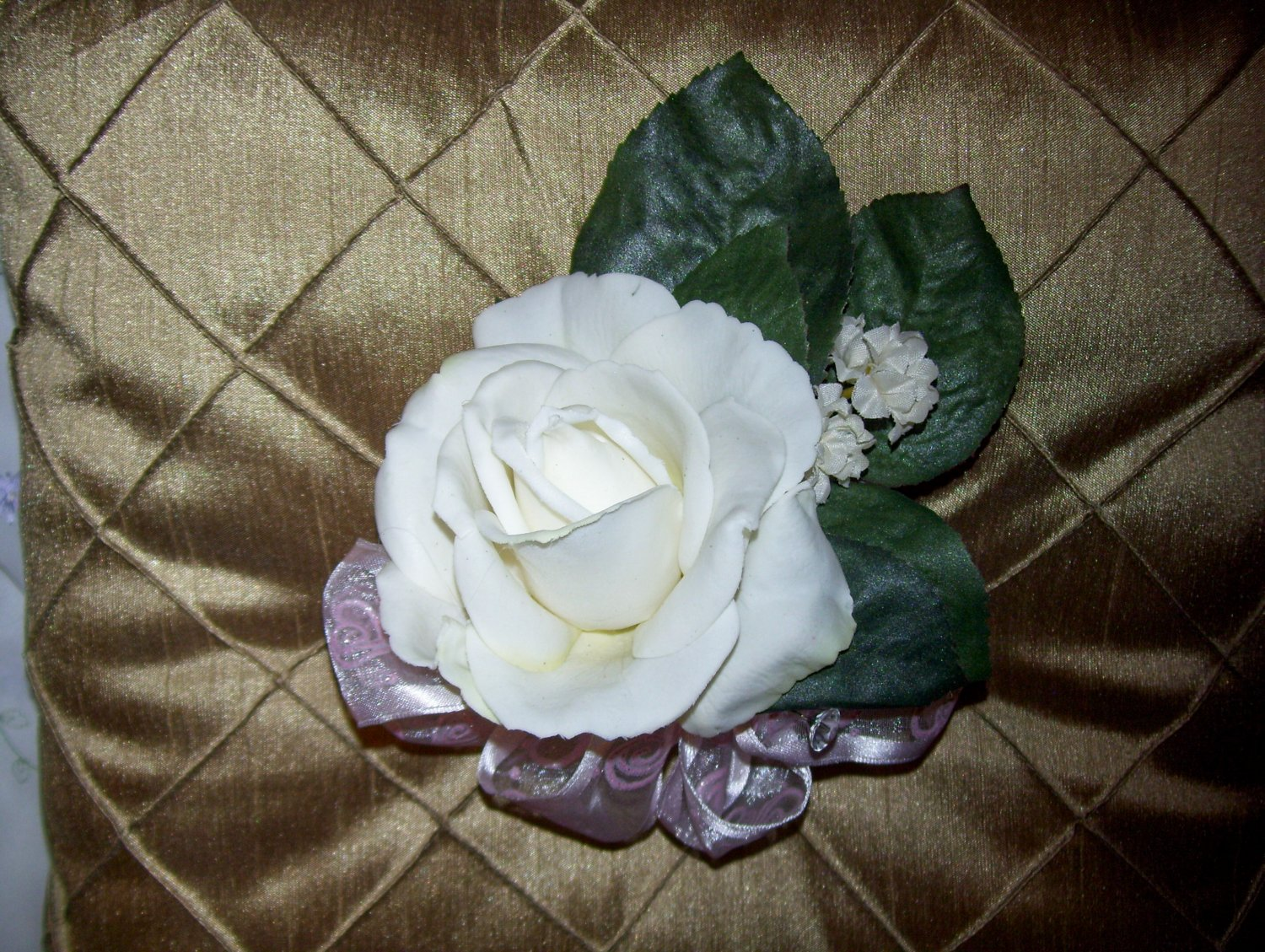Ready to ship. Corsage. True Touch, These look & feel like real Flowers. (They are not silk.)
