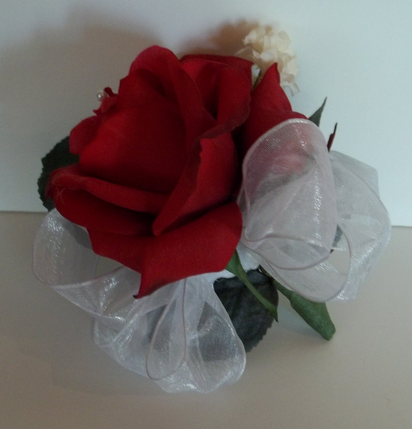 """True Touch 3"""" Open Faced Rose Corsage. These look & feel like real Flowers."""