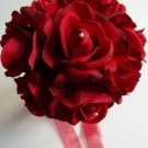 """True Touch 7"""" Wedding Bouquet with  open faced roses. Hand tied."""