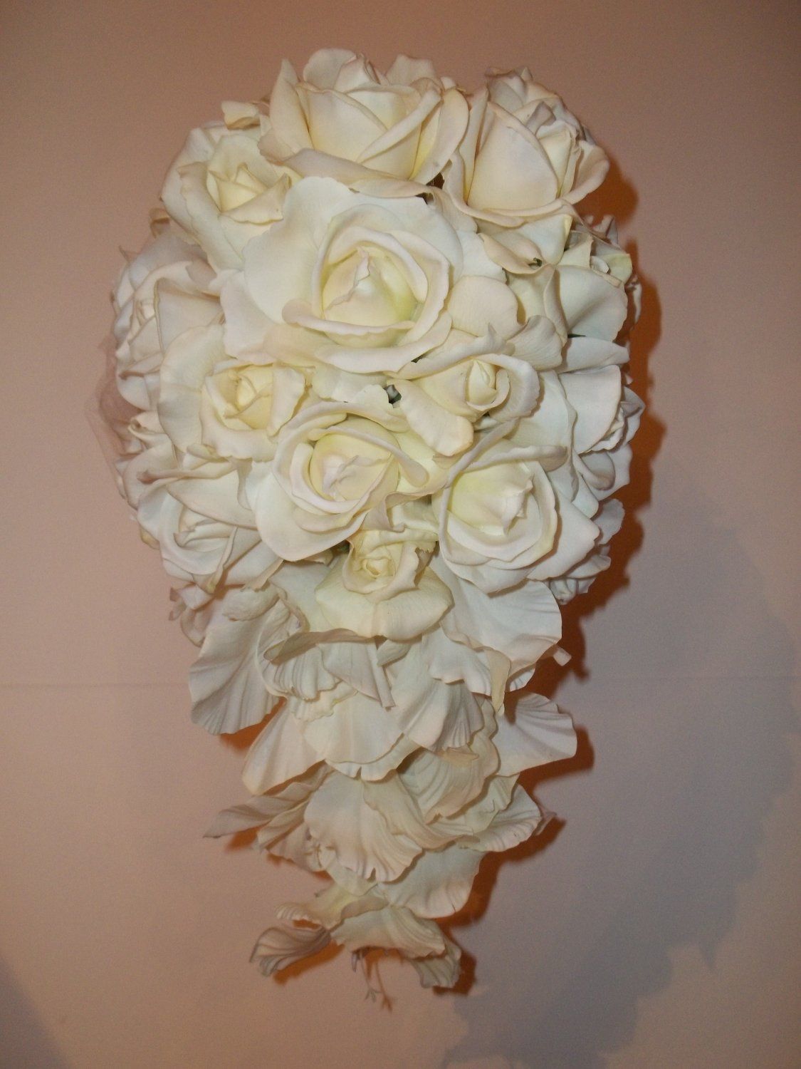 True Touch All White Gladolia and Rose Cascade Wedding Bouquet.