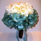 "Super Summer Sale. Large 10"" Round Teal and Ivory Bouquet made with True Touch Roses"