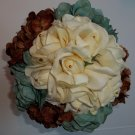 Summer Sale. Large Round Bouquet in Brown, Ivory and Teal. True Touch Roses.