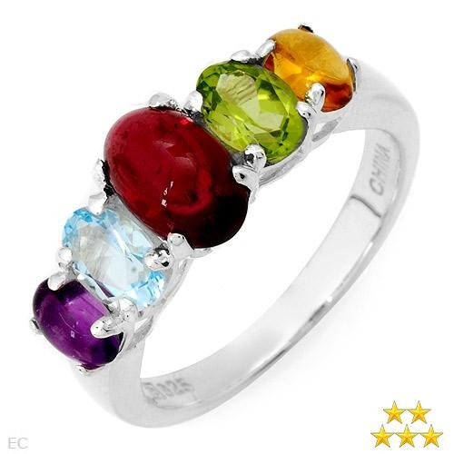 3.00 Carat Amethyst,Citrine,Peridot and Topaz Ring Sz 6