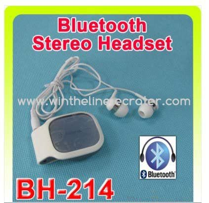 BH-214 bluetooth stereo headset earphone BH214(white) -- Free shipping