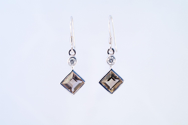 Smoky Quartz earrings 925 sterling silver W/G plated