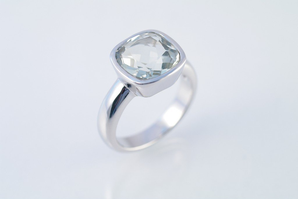 Green Amethyst ring 925 sterling silver W/G plated