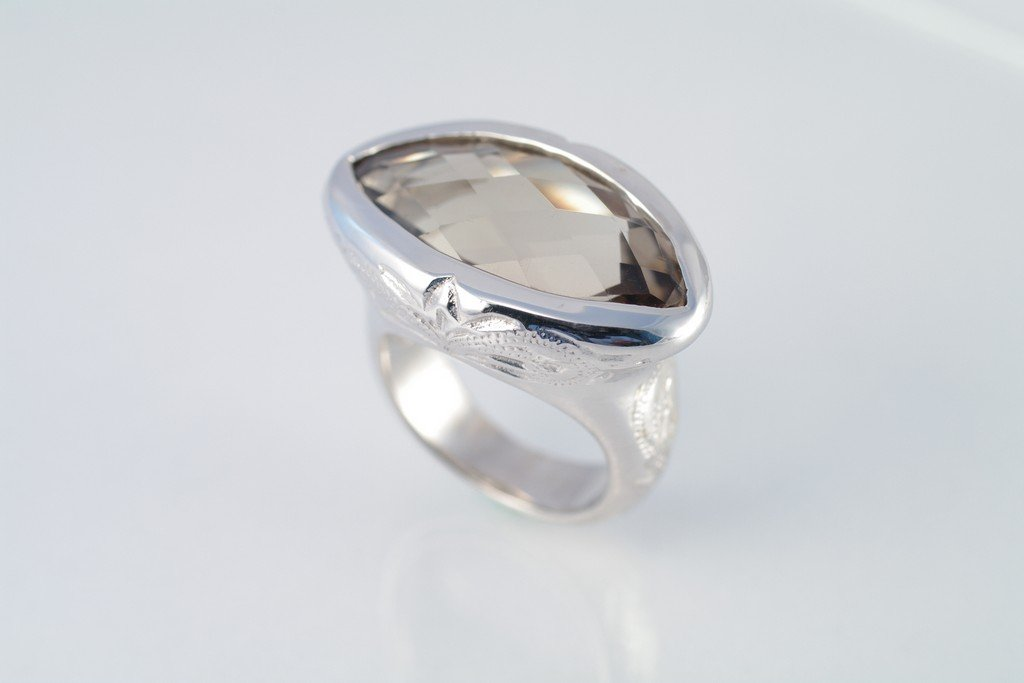 Smoky Quartz ring 925 sterling silver W/G plated