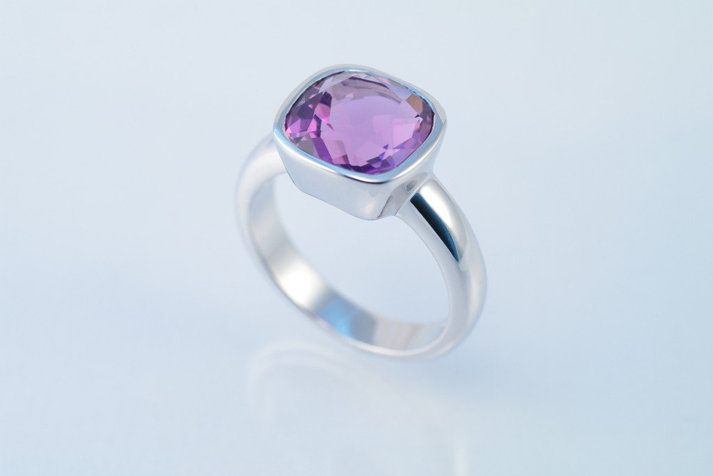 Amethyst ring 925 sterling silver W/G plated