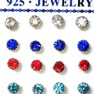 Rhinestones stud earrings-3mm-Various colours-silver plated