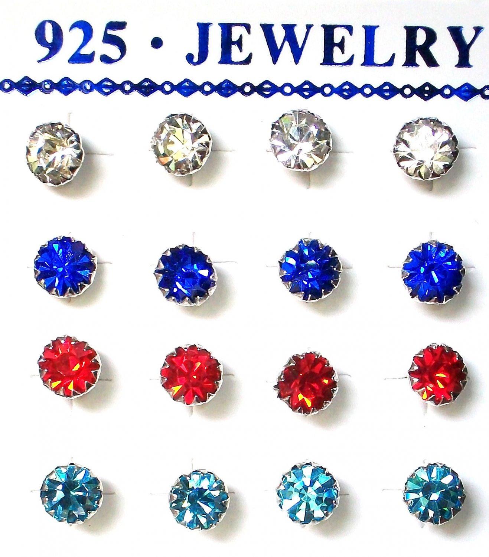 Rhinestones stud earrings-3mm-Various colours-silver plated