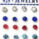 Rhinestones stud earrings-5mm-Various colours-silver plated