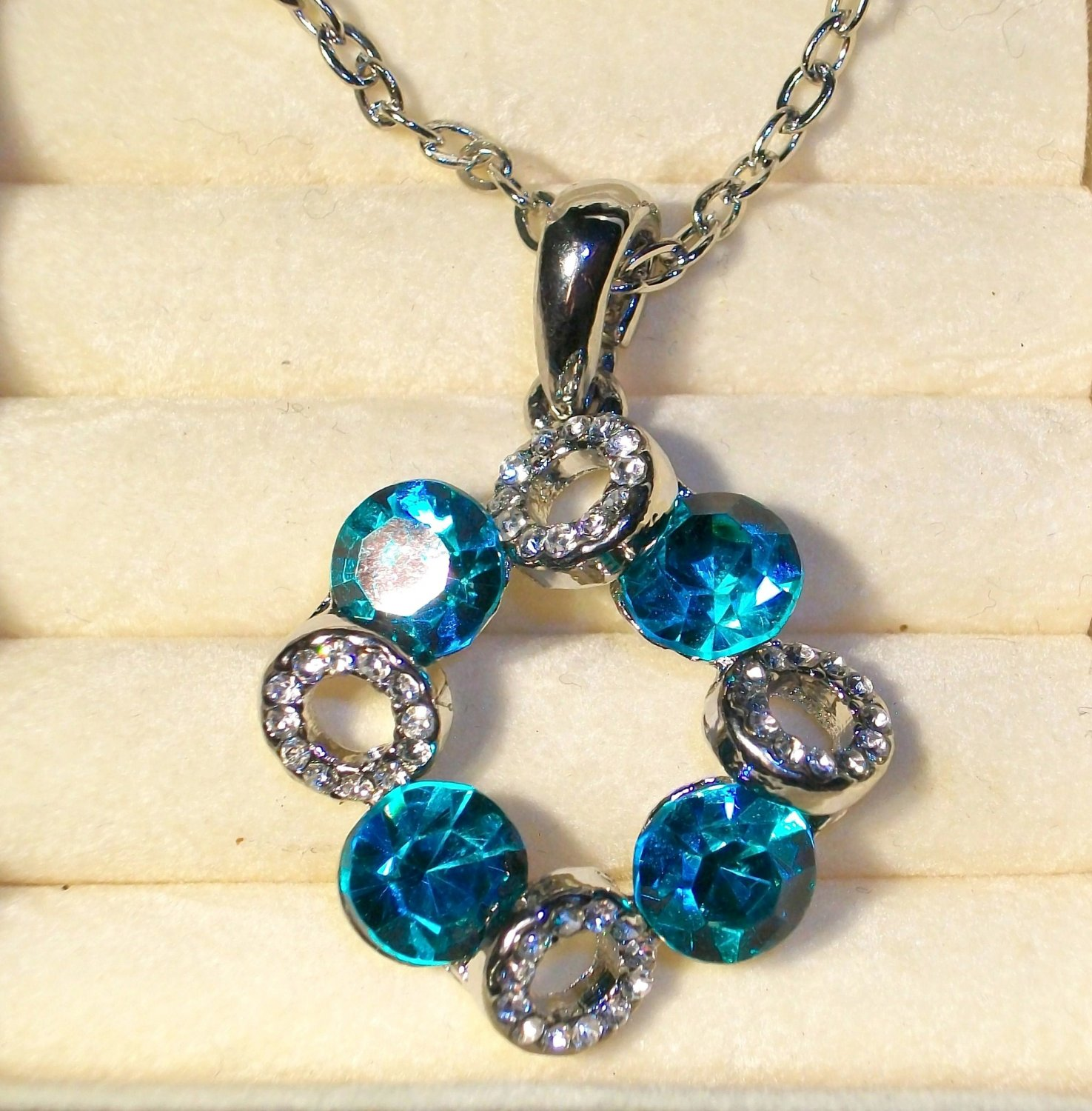 Fashion Pendant + Chain-Silver Tone- Turquoise and Clear Glass Stones