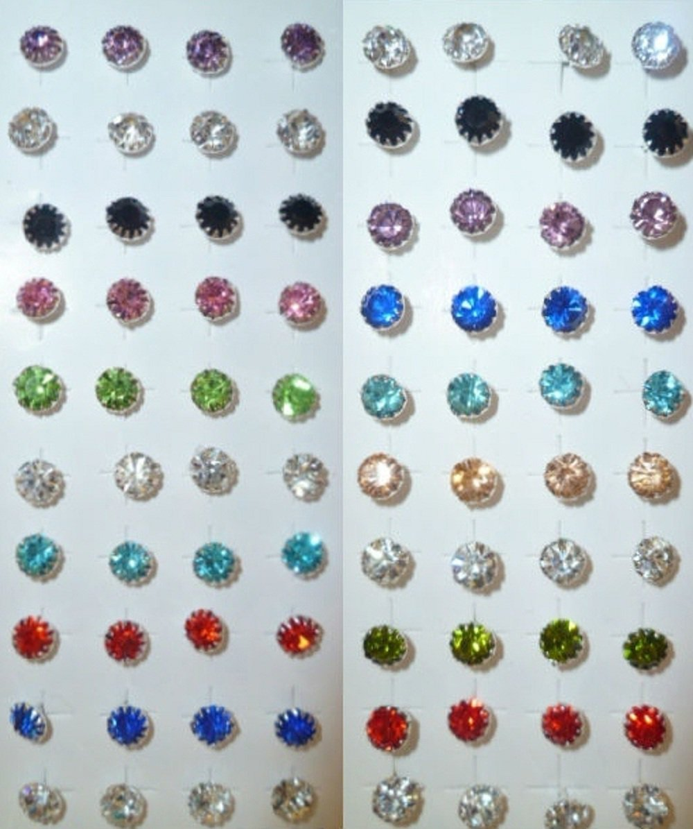 Rhinestones stud earrings-6mm-Various colours-silver plated