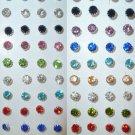 Rhinestones stud earrings-4mm-Various colours-silver plated