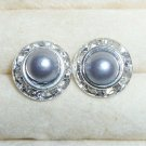 Rhinestones + Pearl stud earrings-Grey-9mm diameter
