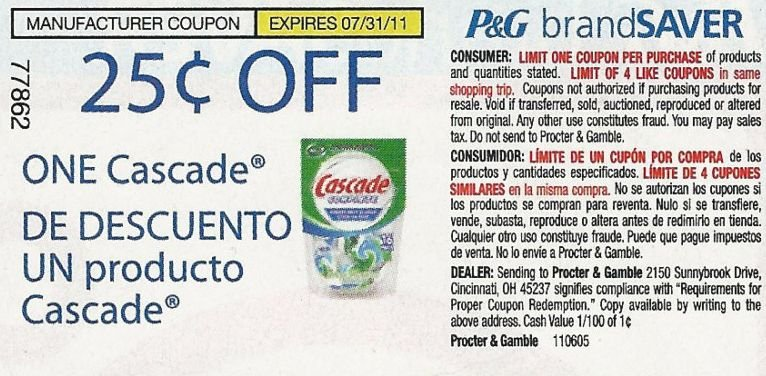 $0.25/1  Cascade Coupons exp. 7/31 - Lot of 20