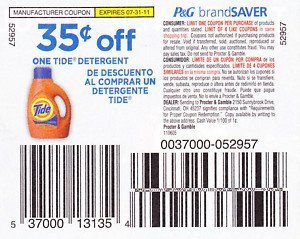 $0.35 Off One Tide Detergent exp 7/31/11 - Lot of 20