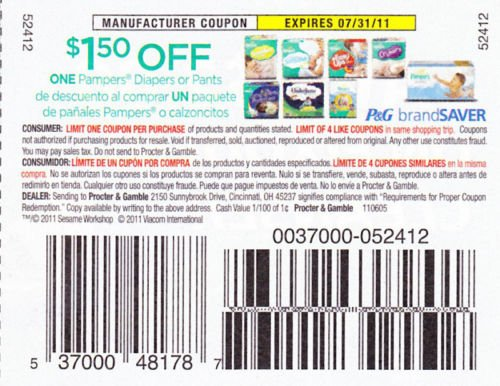 $1.50/1 Pampers Diapers or Pants exp 7/31 - Lot of 20